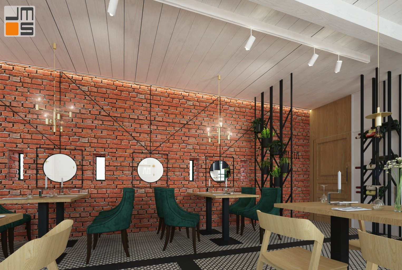 Ceglana ściana w projekcie wnętrz baru restauracji w Krakowie jako ciekawy pomysł na wnętrze