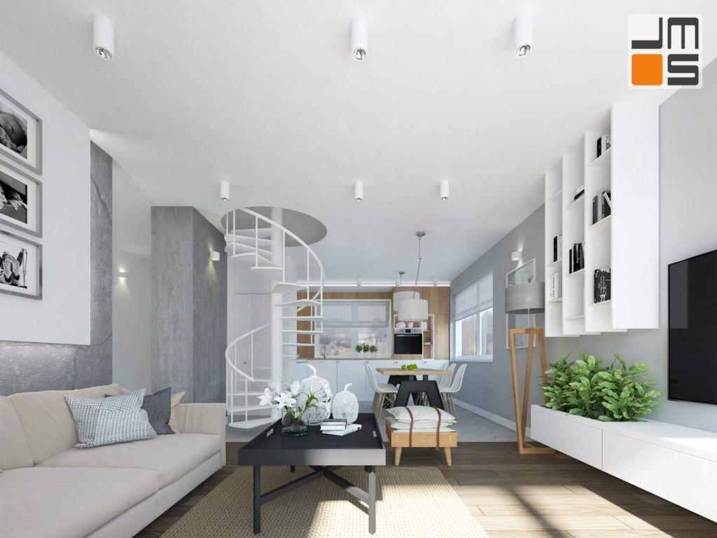 Projekt mieszkania zakłada wykorzystanie ciepłych odcieni drewna oraz takich kolorów jak biel,szarość,beż