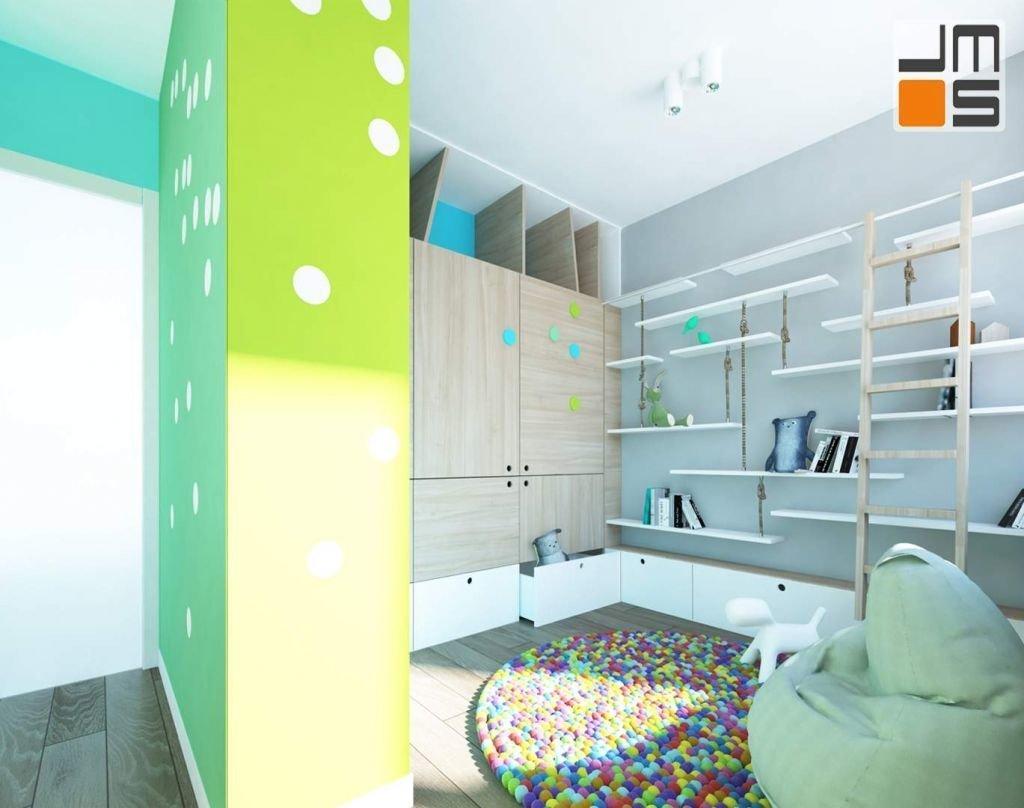 W pokoju dziecinnym projektanci zastosowali Jednak wzory oraz kolorystykę, która pobudzi dziecięcą wyobraźnie a jednocześnie będzie się komponowała Z szarością
