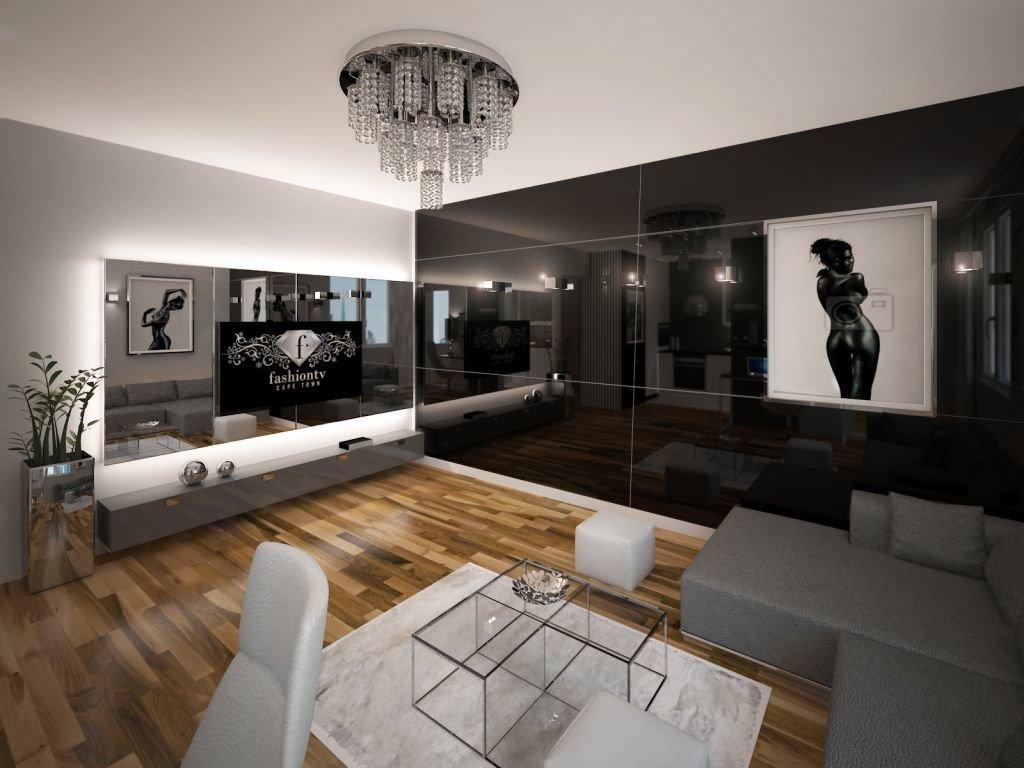 Projekt wnętrza mieszkania w stylu glamour  w apartamentowcu w Krakowie