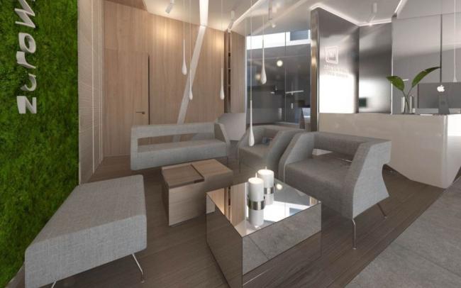 Projekt nowoczesnego  ciepłego wnętrza gabinetu odnowy biologicznej  Bielsko - Biała