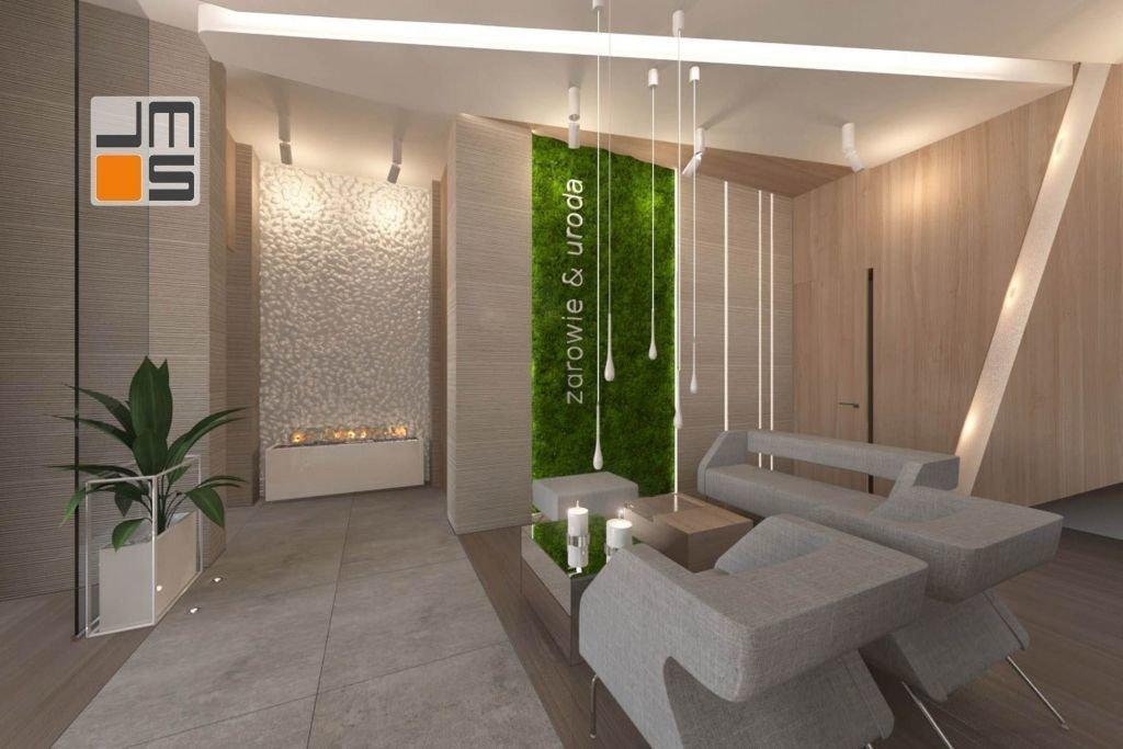 ekologiczna dekoracja, mech we wnętrzu, niebanalna dekoracja, zieleń we wnętrzu, wnętrze z charakterem, Bielsko, gabinet kosmetyczny