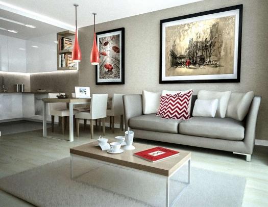 Projekt małego mieszkania aranżacja wnętrz w Krakowie osiedle mieszkaniowe Browar Lubicz