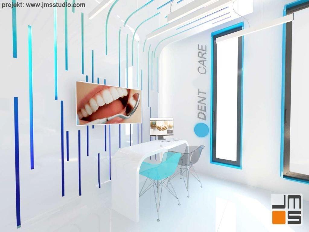 pomysł na ścianę z alucobondu wersja niebieska u stomatologa i dentysty