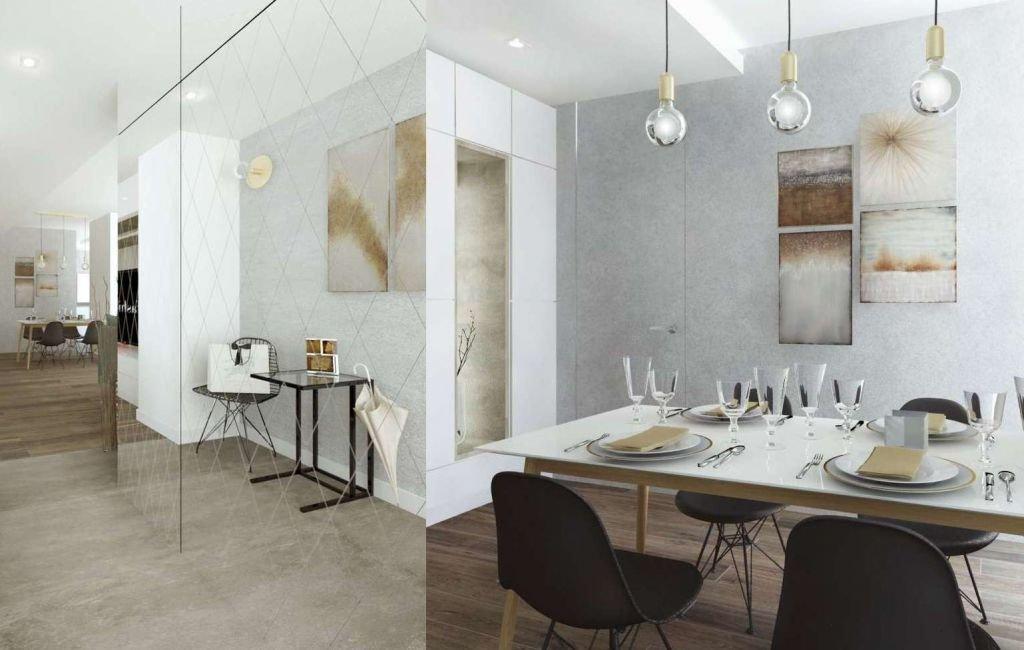 Ciekawy projekt wnętrz małego mieszkania  w kolorach szarym i beżowym z akcentami w Krakowie