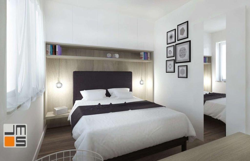 Projekt wnętrz stworzył przyjemną przestrzeń w sypialni poprzez zastosowanie niebanalnego oświetlenia, grafik i przyjemnych materiałów np. drewna.