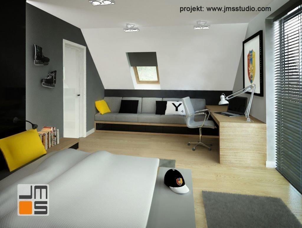 Designerskie meble w ciekawym pomyśle na projekt wnętrz pokoju dla nastolatka lubiącego sport.