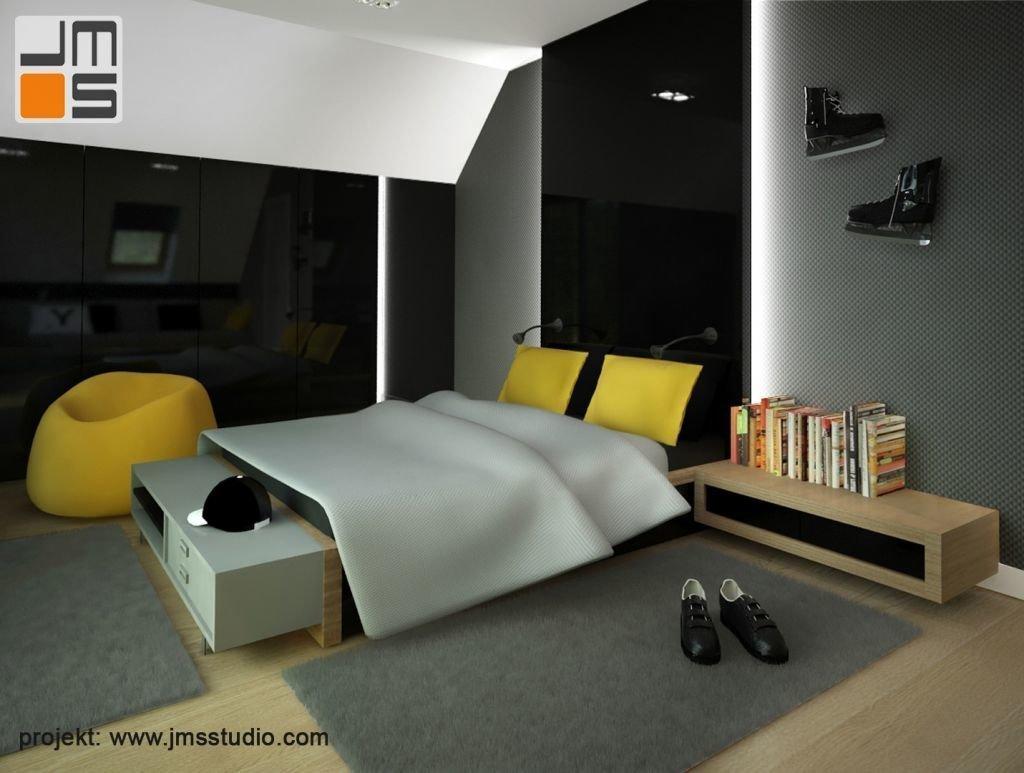Czarny lakobel z białym podświetleniem na ścianach i żółte dodatki we wnętrzu