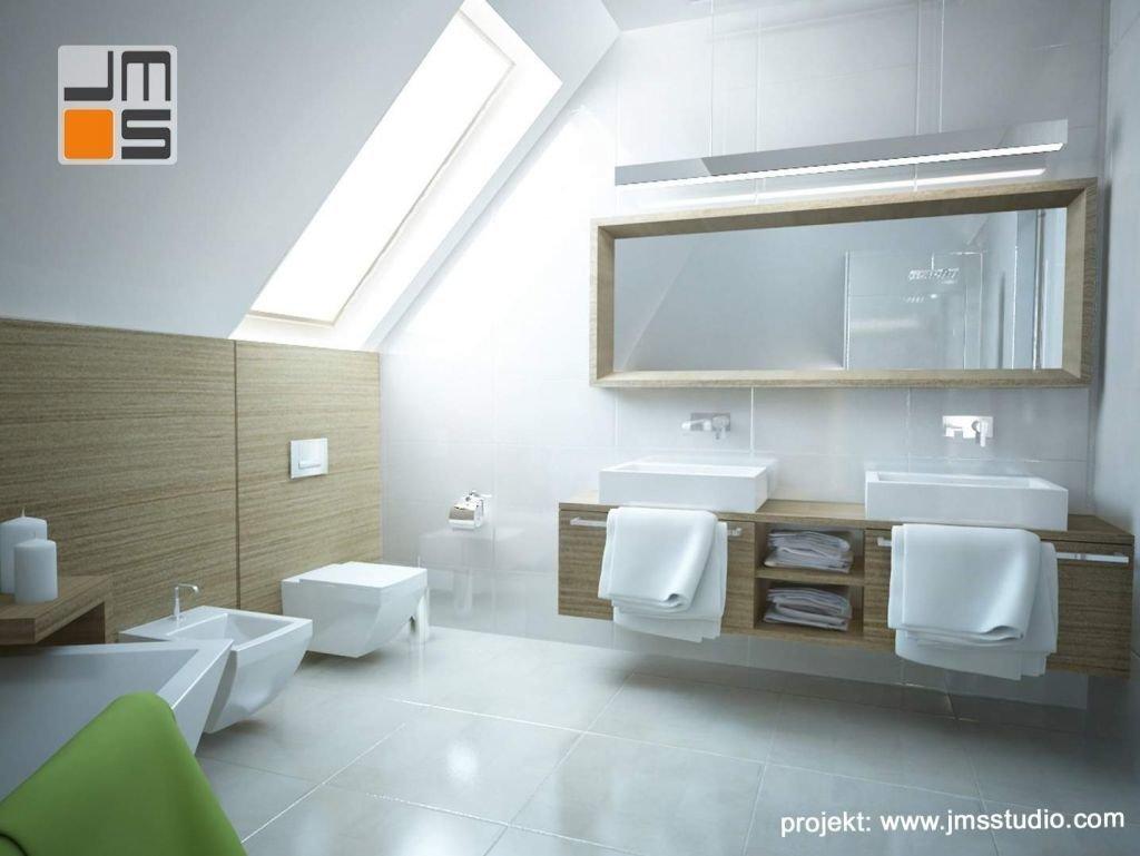 Nowoczesne oświetlenie led w połączeniu z ciekawą ramą drewnianą stanowią pomysł na aranzację wnętrz łazienki z dwoma umywalkami w Krakowie