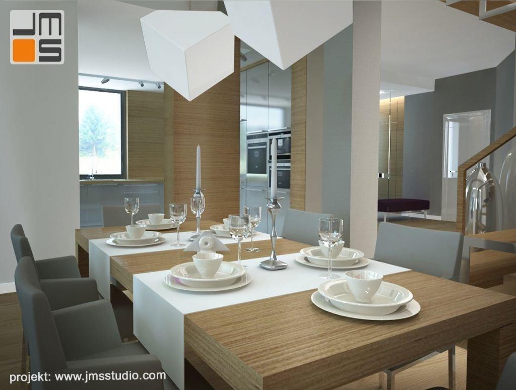Projekt wnetrz jadalni współgrający z aranżacją nowoczesnej kuchni w Nowym Targu