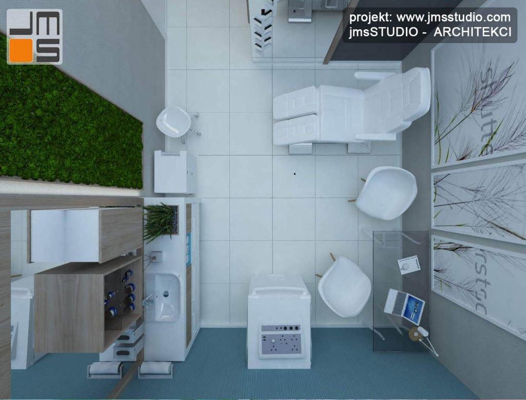 Ciekawy pomysł na aranżację wnętrza gabinetu medycznego z wykorzystaniem grafik i mchu na ścianach