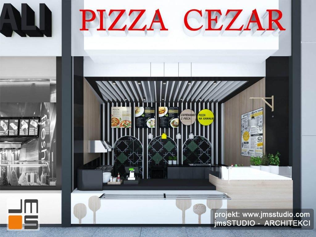 Czarny biały i zielony a do tego ciekawe wzory to doskonały pomysł na projekt oryginalnych wnętrz małej gastronomii jak pizzeria