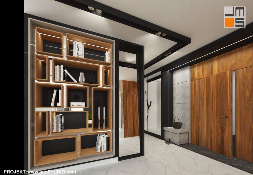 Drewno i fornir orzech amerykański stanowi element ocieplający we wnętrzu z marmurową posadzką
