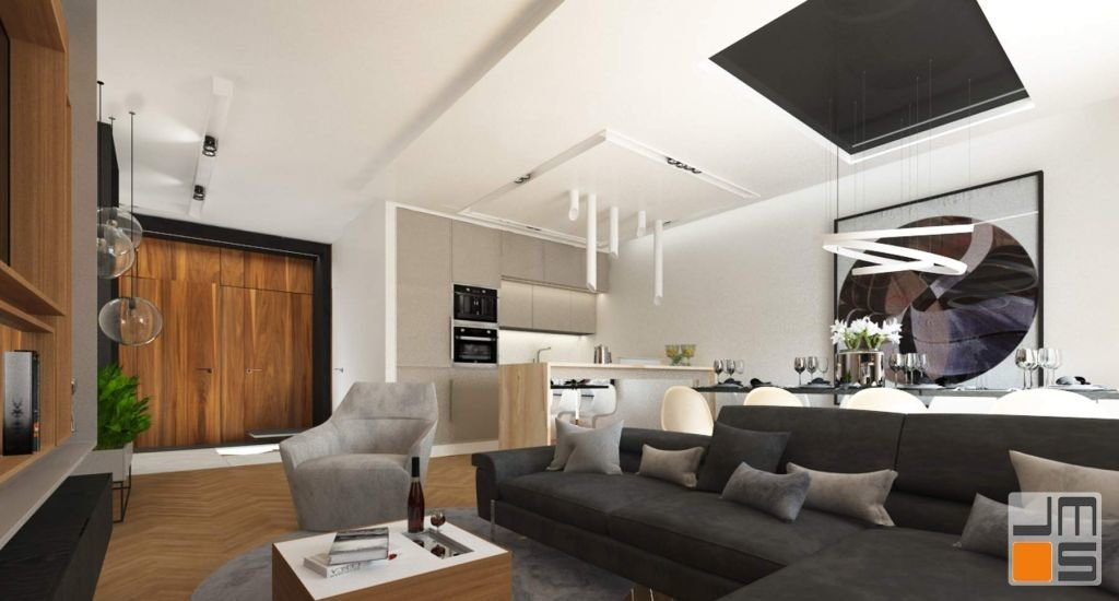 Projekt wnętrz apartamentu przewidywał stworzenie jasnych przestronnych wnętrz