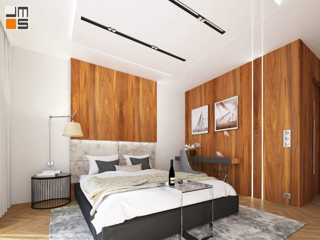 Parkiet układany w jodełke na podłodze sypialni w nowoczesnym apartamencie Kraków