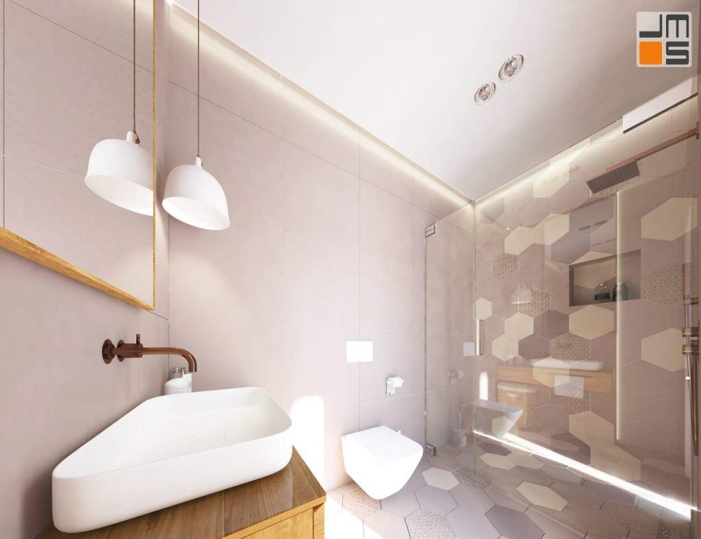 projekt wnętrz łazienki, projekt wnętrz nowoczesnych o ciepłym i przytulnym charakterze w domu pod Krakowem.