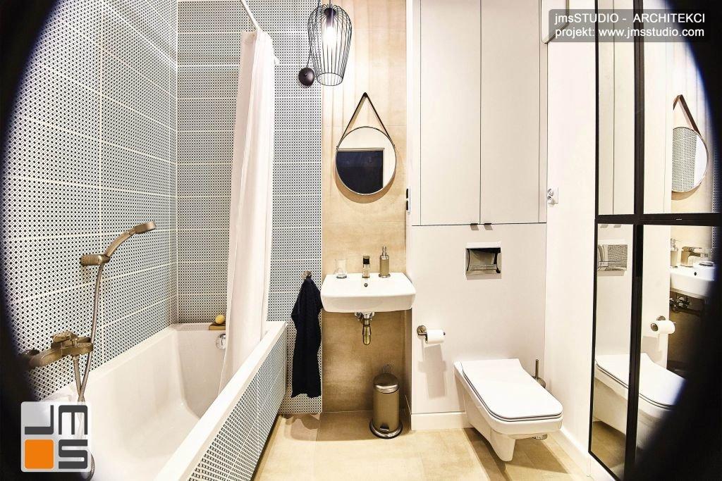 Wnętrza małej łazienki w stylu SOFT LOFT zostało zaprojektowane tak by było funkcjonalne a pralka została ukryta w zabudowie