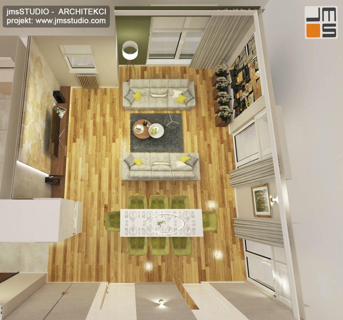 ekskluzywny projekt wnętrz eleganckiego mieszkania w Krakowie widok z góry na strefę dzienną salon z jadalnią
