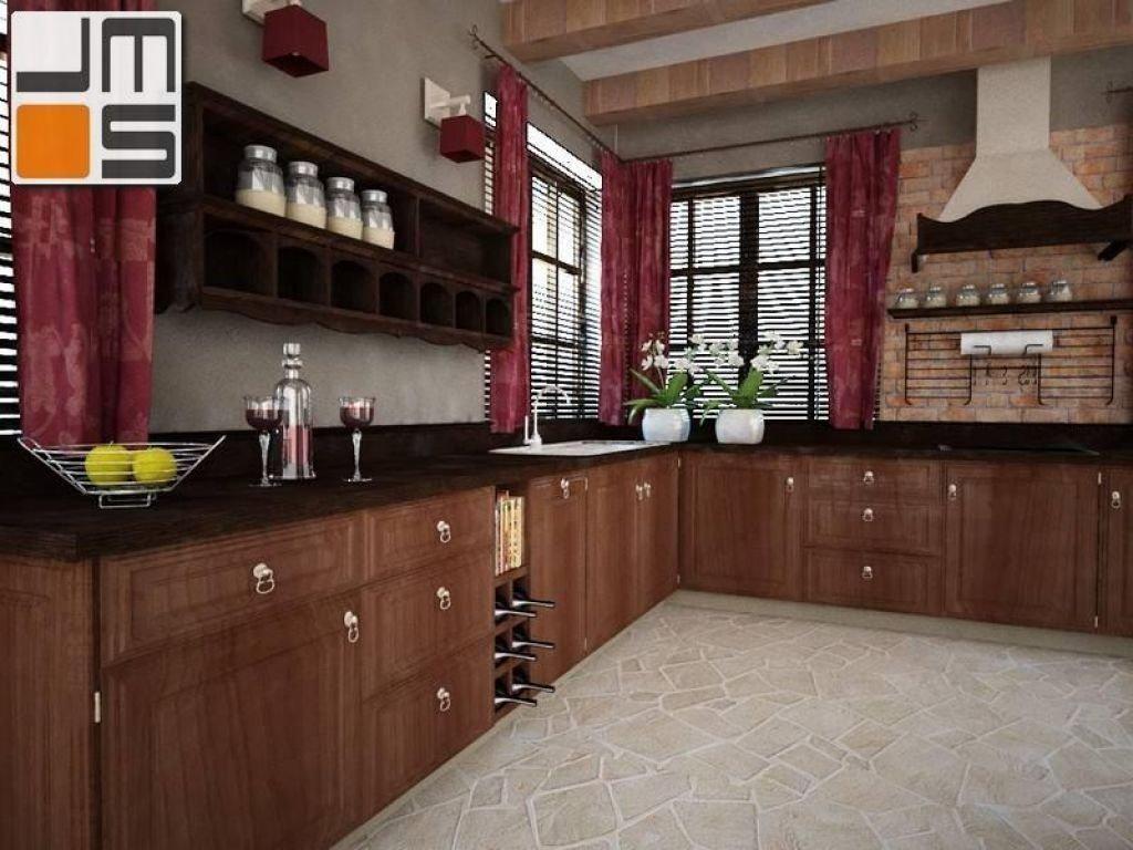 Projekt rustyklanej kuchni ze stylizowanymi meblami i cegłą na ścianie