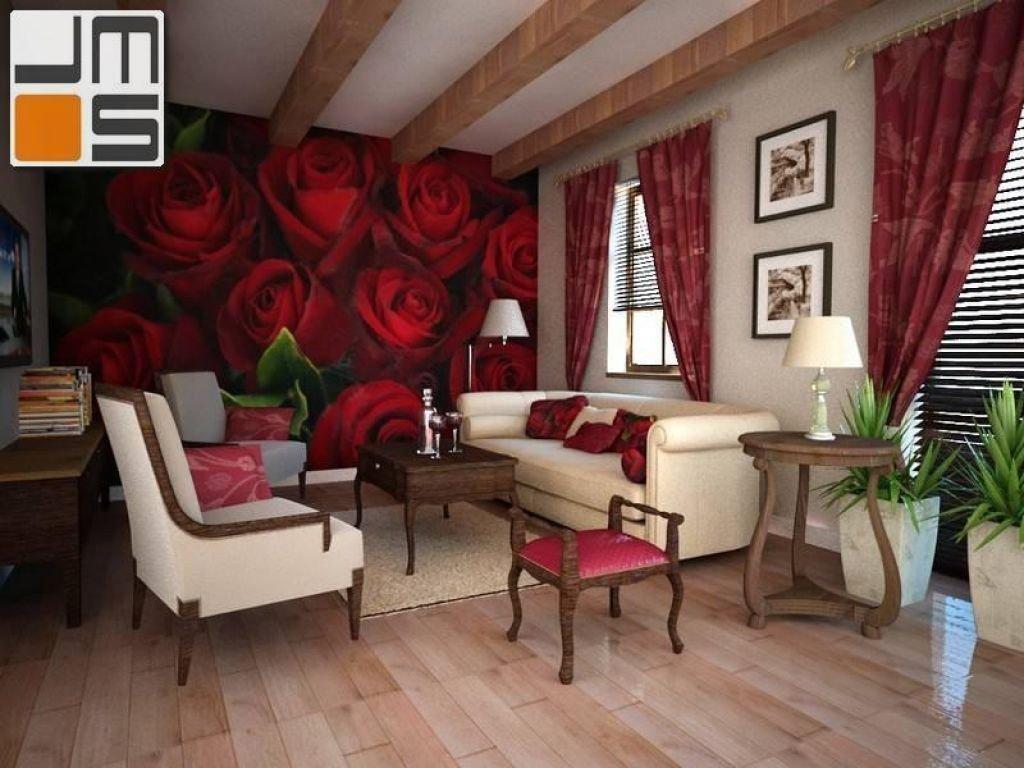 Stylizowane wnętrza salonu, fototapeta na ścianie w salonie