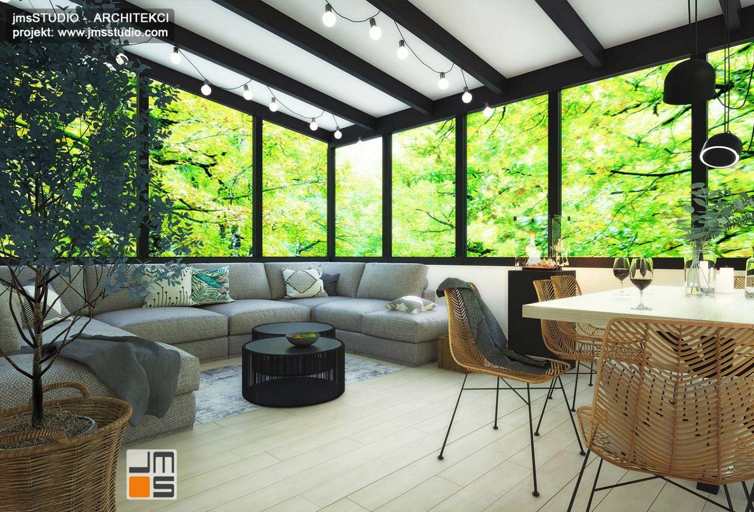 czarna stolarka okienna i lampy to pomysł na antracyt w aranżacja wnętrz salonu i jadalni Katowice