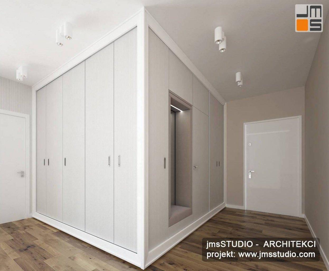 architekt wnętrz kraków projekt wnętrz holu szafa wnękowa i tapeta
