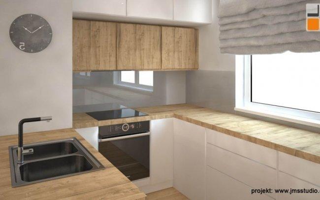 Drewniany Blat W Białej Kuchni