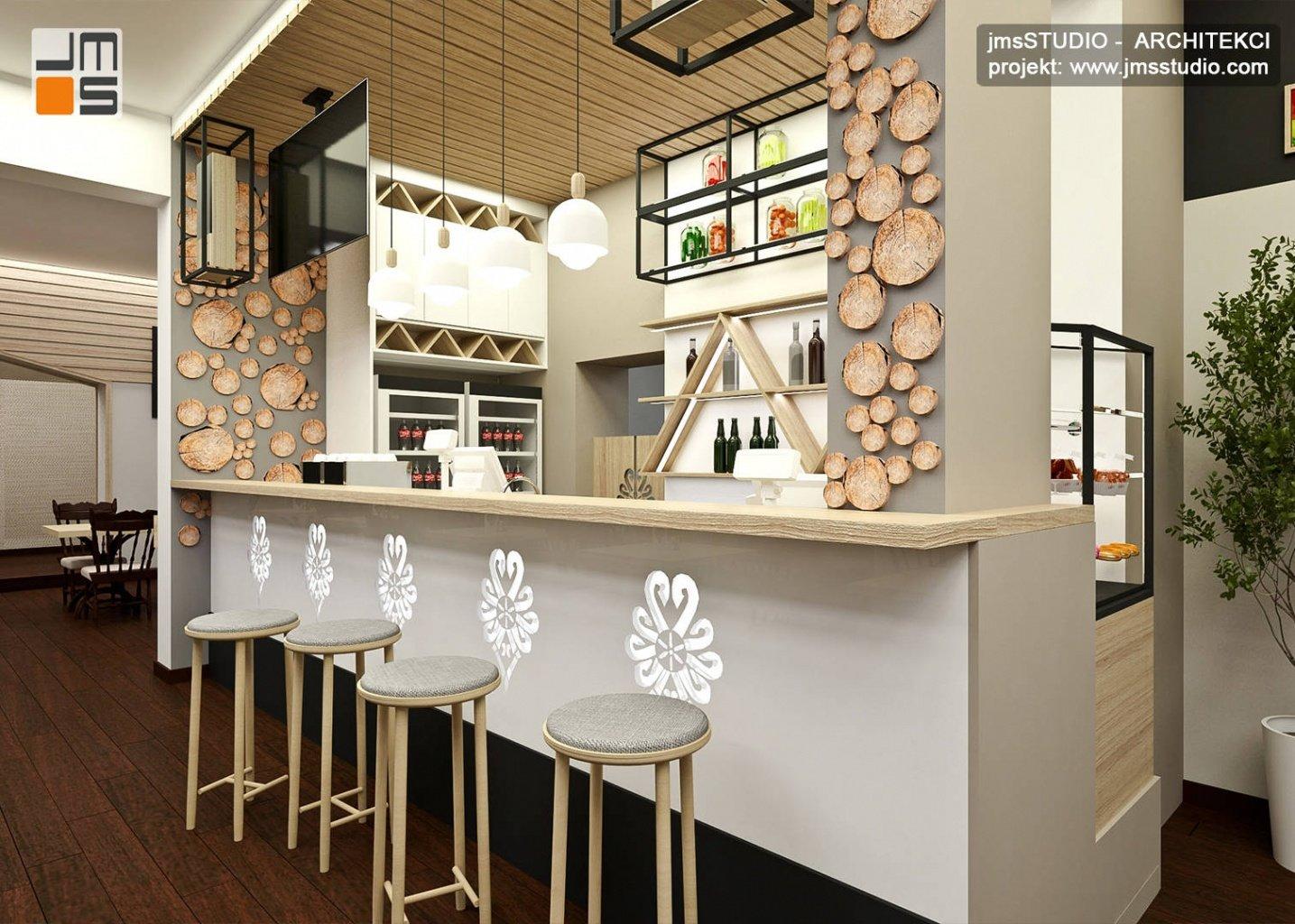 Projekt baru w restauracji góralskiej Zajazd Kałużna - projektowanie wnętrz Kraków