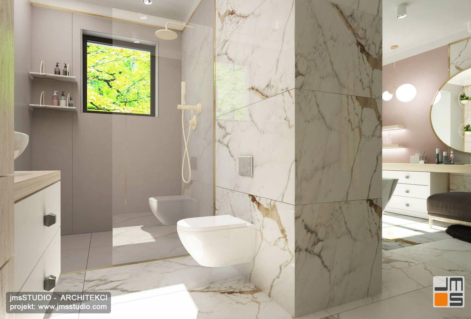 kabina prysznicowa z oknem to pomysł na aranżacja wnętrz dużej łazienki w Katowice