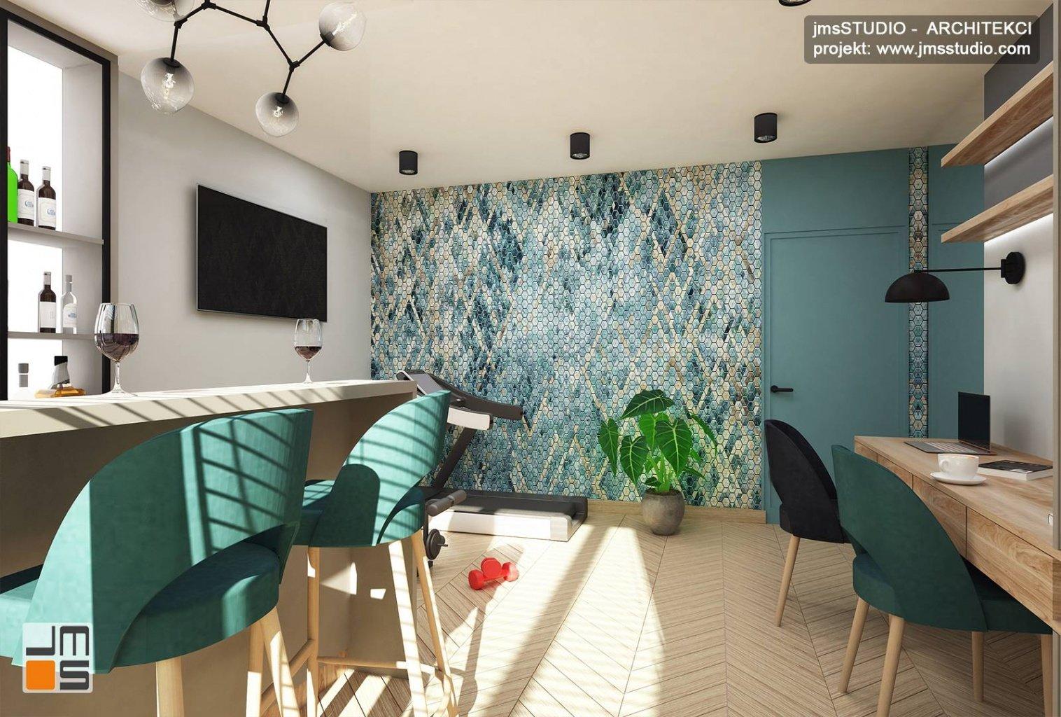 tapeta z wzorem w pokoju rekreacyjnym fitness to pomysł na projekt wnętrz w Katowicach