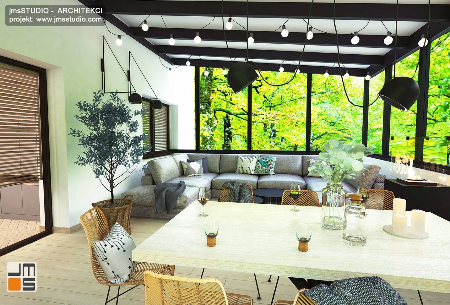 projekt oświetlenia proste i nowoczesne lampy we wnętrzu salonu i jadalni to projekt wnętrz Katowice