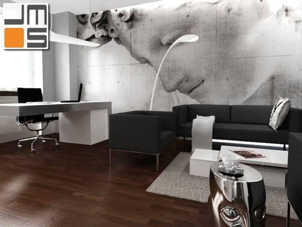 Projekt biura z wyrazistą tapetą