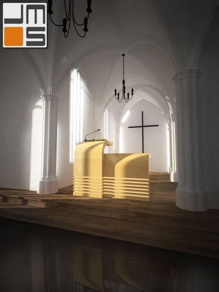 Projekt minimalistycznej mównicy z drewna