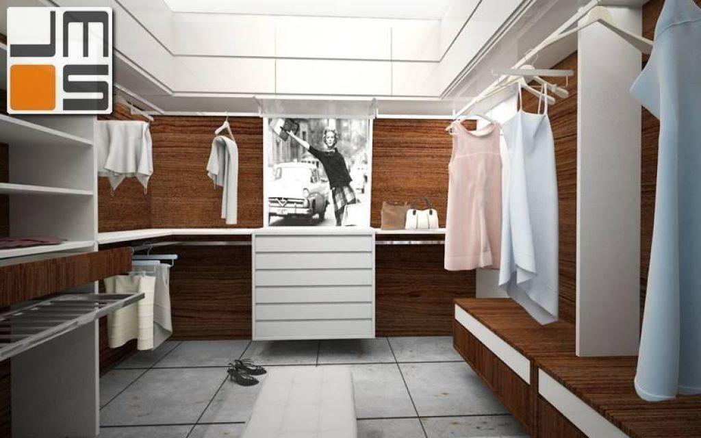 Projekt przestronnej garderoby z grafiką w stylu retro