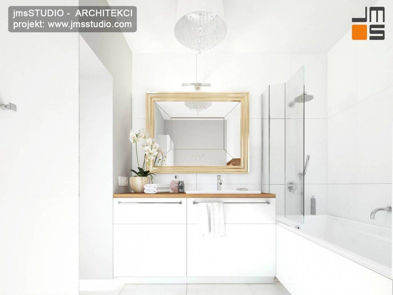 projekt wnętrz kraków mała ekskluzywna łazienka biel