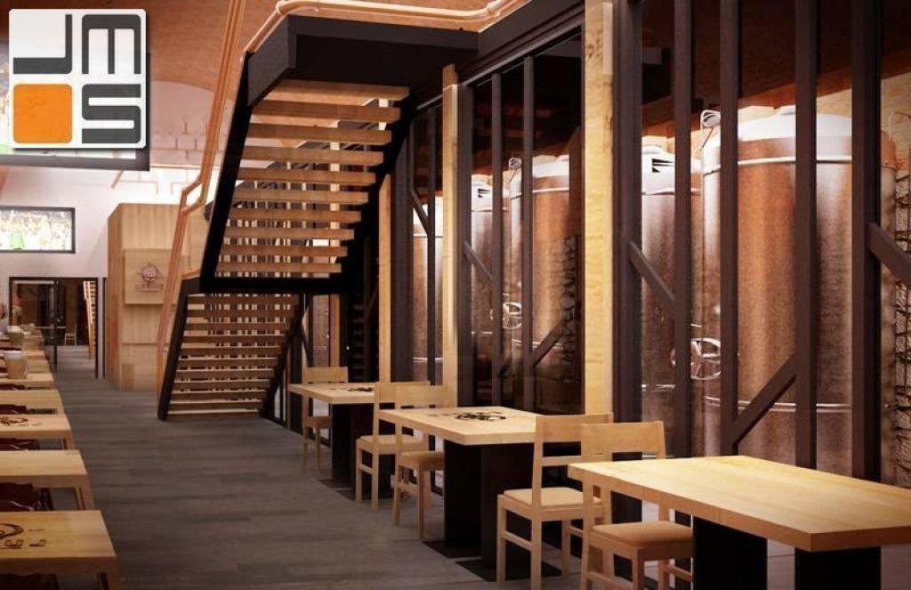 Projekt wnętrz mini browaru urządzenia browarnicze we wnętrzu restauracji