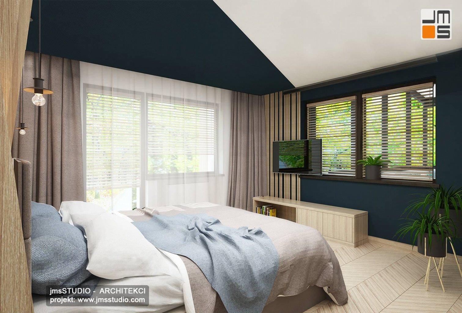 projekt aranżacji wnętrz sypialni w Katowicach z parkiet drewniany jodła francuska z jesion
