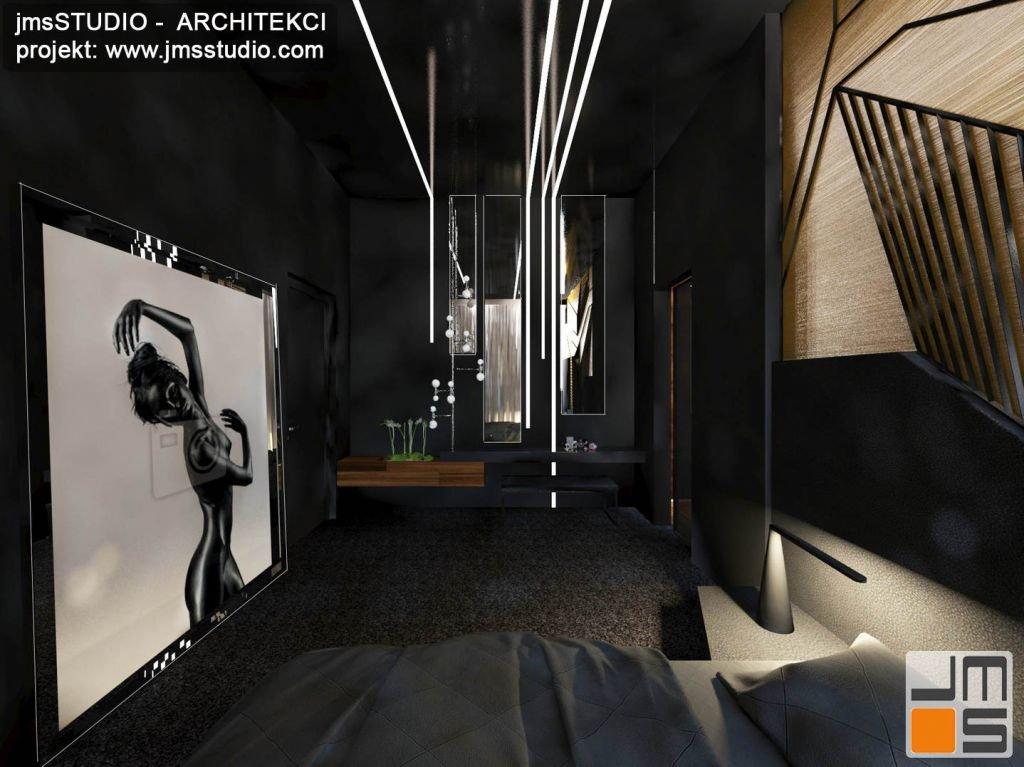 Projekt bardzo odważnych i eleganckich wnętrz sypialni z dużą grafiką typu akt w nowoczesnej rezydencji to luksusowy projekt z pomysłem na projekt ściany