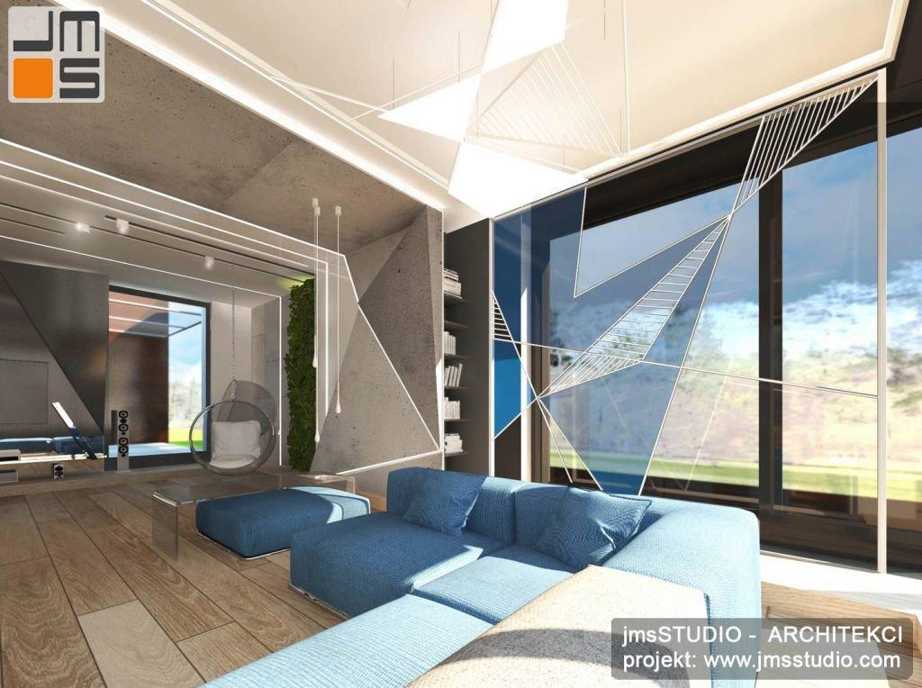 Luksusowy projekt dużego salonu w nowoczesnej rezydencji z odważnym pomysłem na dekoracje wnętrza wykonaną na zamówienie ze stali i beton na podłodze