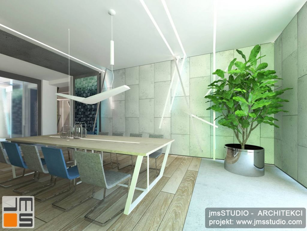 projekt dużej przestronnej i jasnej jadalni w dużym domu jednorodzinnym to pomysł na projekt wnętrz i ścian nowoczesnych