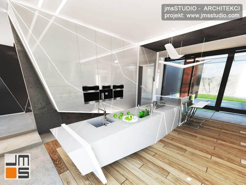 projekt nowoczesnej ekskluzywnej i ekstrawaganckiej kuchni z białymi frontami i designerskim podświetleniem oraz zabudowanym AGD