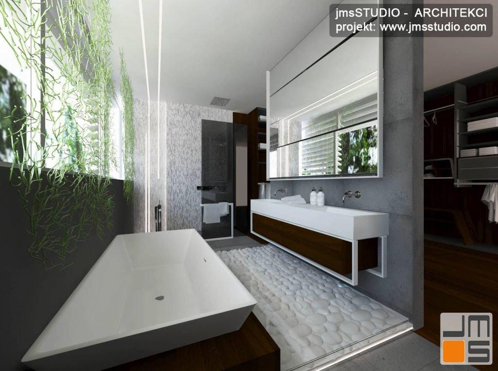 projekt wnętrz dużej łazienki z bardzo eleganckimi nowoczesnymi wnętrzami dużą wanną i dekoracją ścian z alg