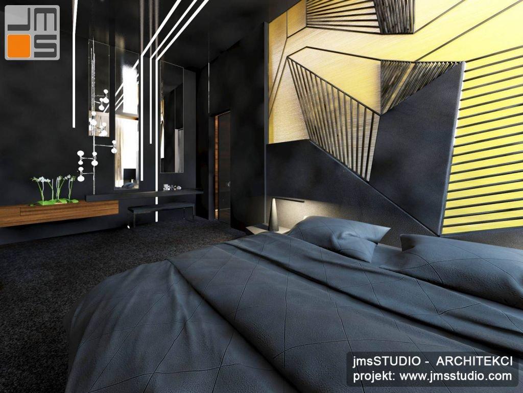 projekt wnętrz przestronnej ekskluzywnej sypialni w ciemnej kolorystyce - antracyt z żółtym i złotym akcentem kolorystycznym