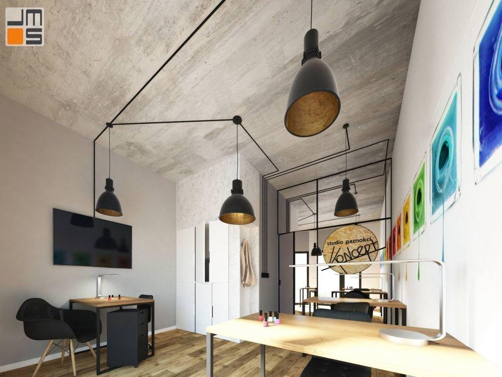 Projekt nowoczesnych minimalistycznych wnętrz salonu manicure - studio paznokci - w Wieliczce koło Krakowa
