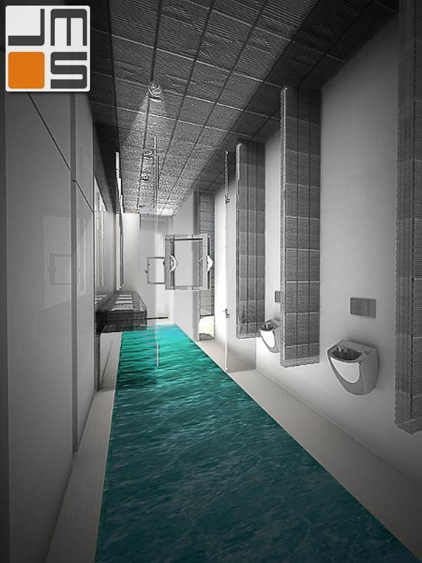 projekt wnętrz �azienek publicznych w hotelu lenart