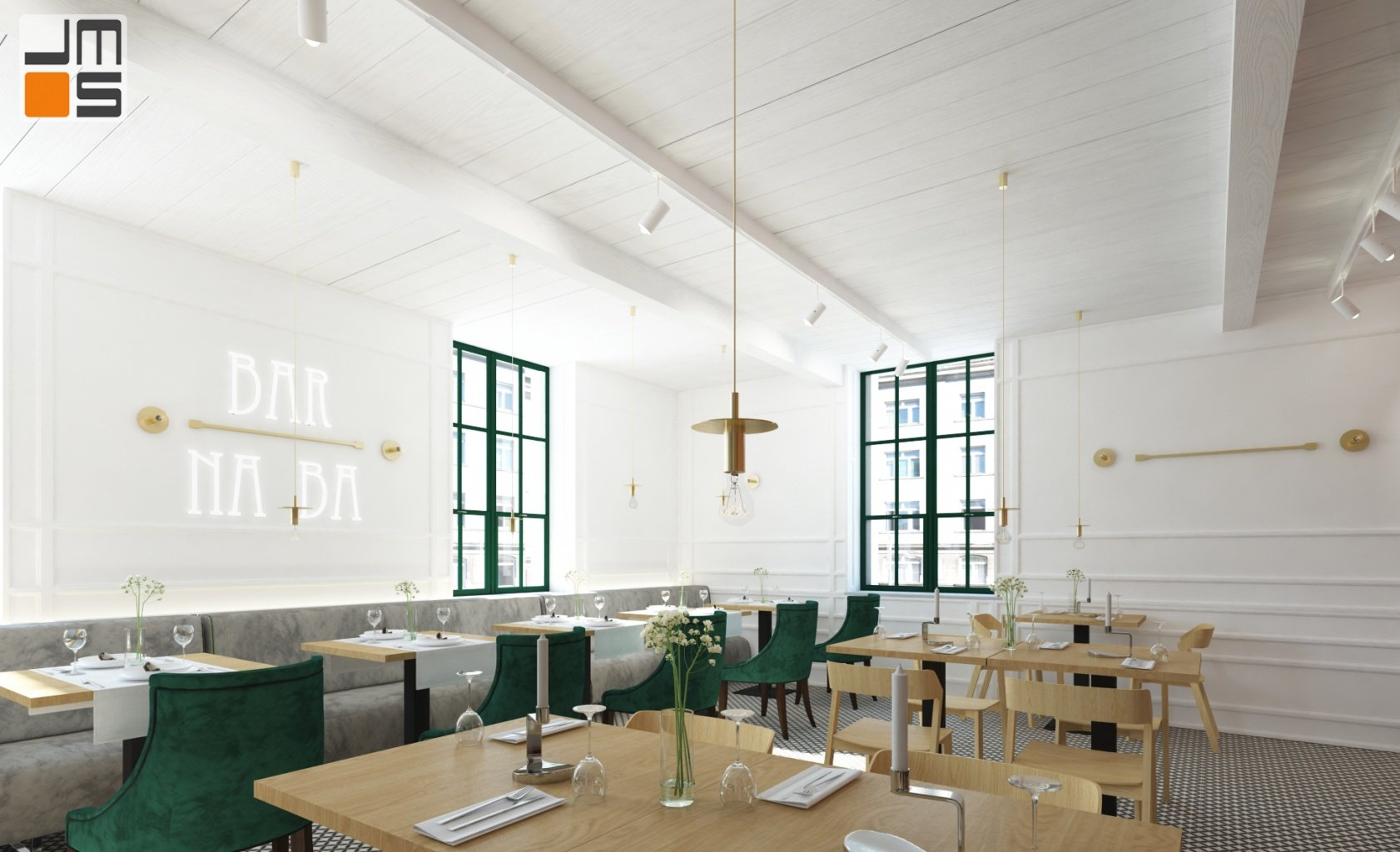 Kolor biały w projekcie wnętrz baru - restauracji w Krakowie pozwolił stworzyć jasne przestronne wnętrze