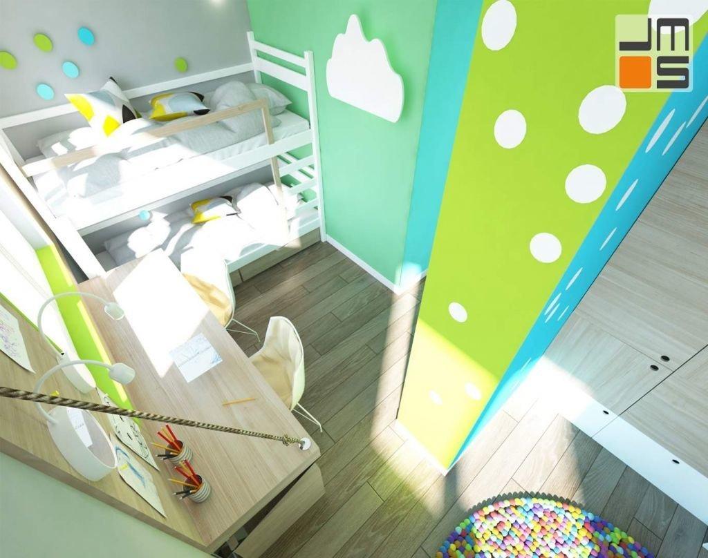 pokój dzieci pomimo niewielkiej powierzchni jak i samego kształtu Został tak zaprojektowany aby wydzielić w nim kilka niezbędnych stref