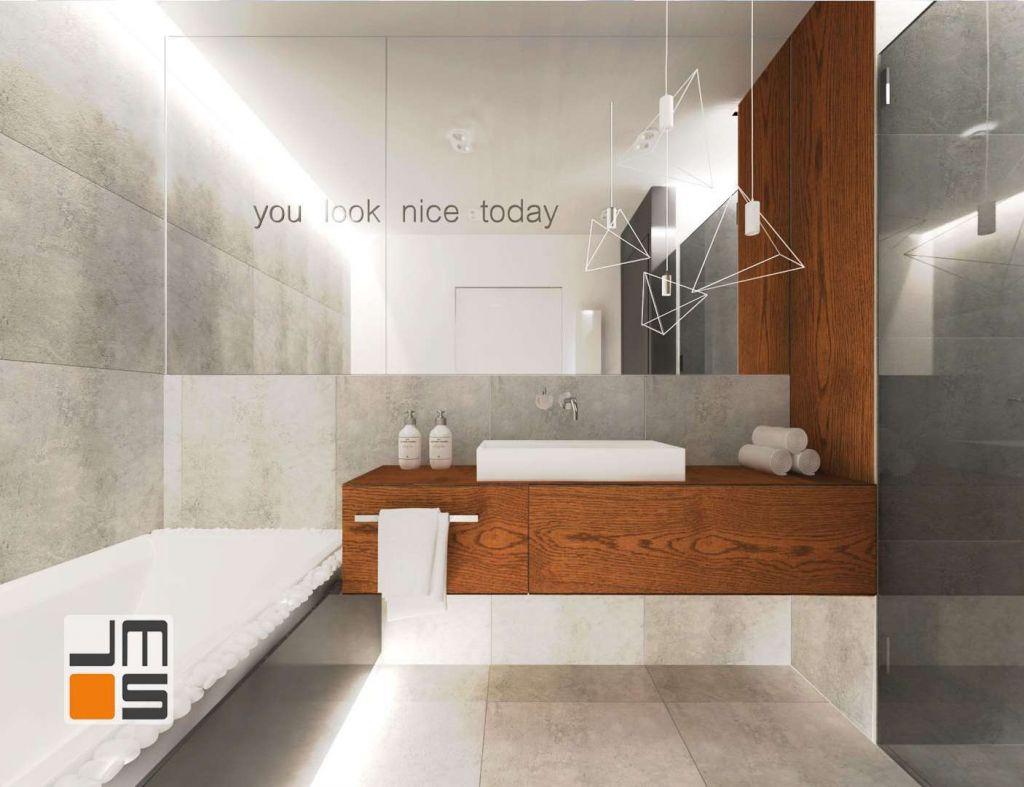 Szarości i drewno w minimalistycznej łazience