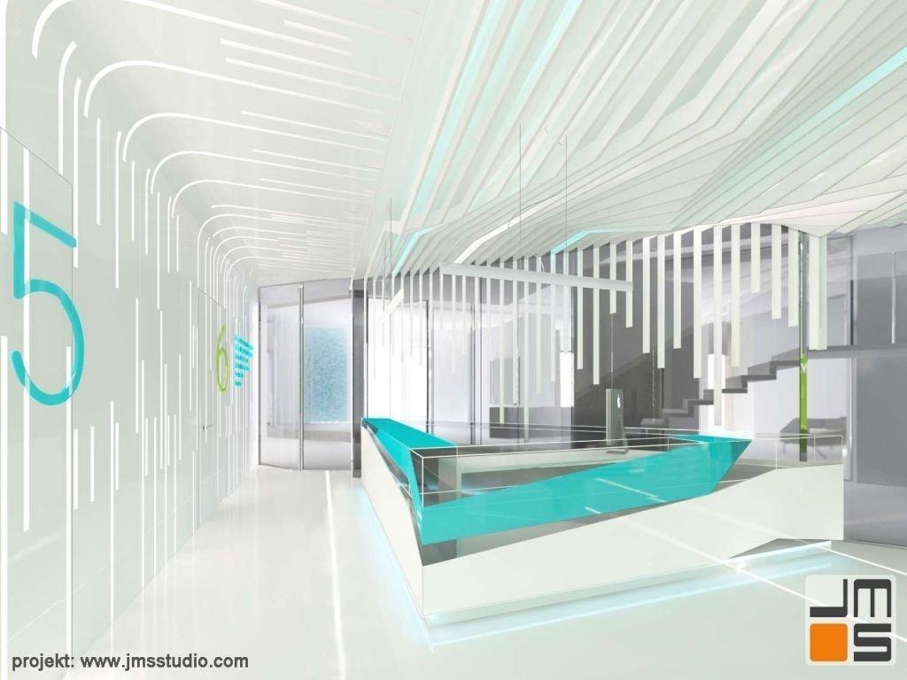designerska ściana w recepcji dentystycznej