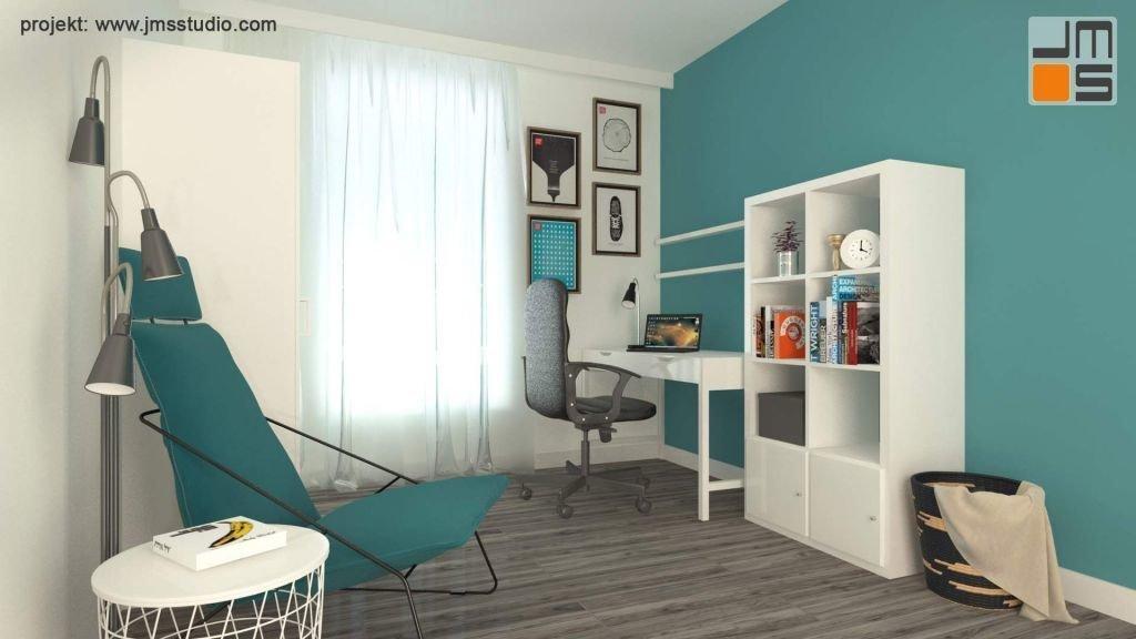 Mały pokój został zaprojektowany tak by umożliwić pracę , sen i wypoczynek a wszystko to w małym mieszkaniu w Bielskim bloku